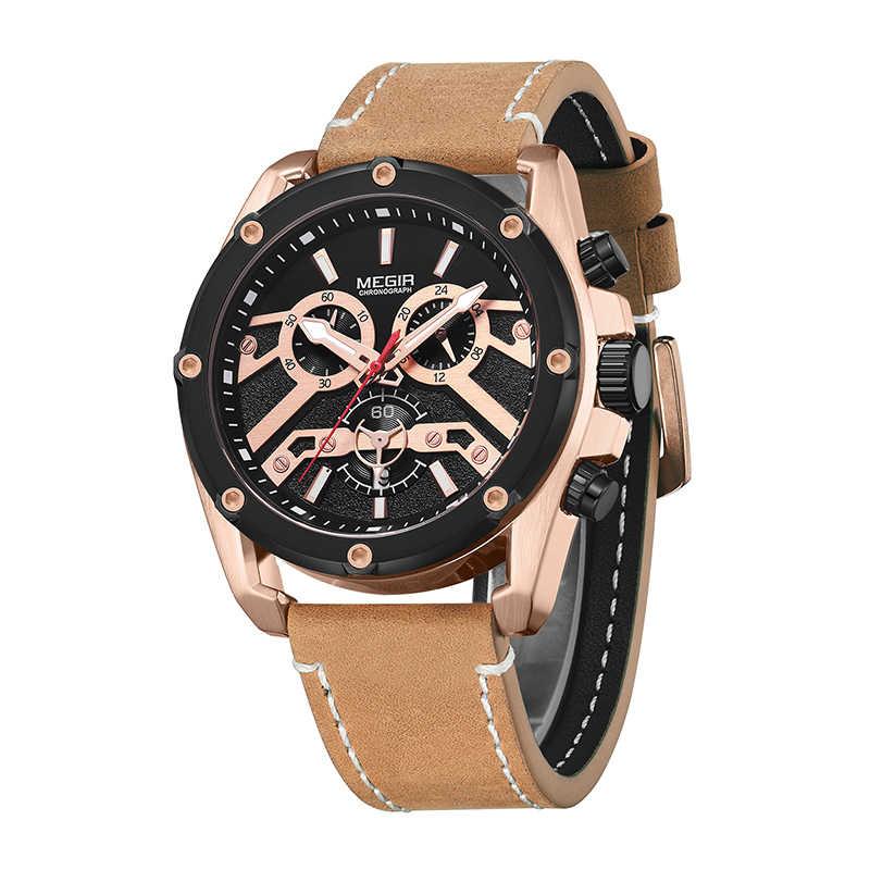 MEGIR 2019 Fashiont 高級男性腕時計男性クリエイティブビジネスクォーツ時計革鋼防水時計男性レロジオ Masculino