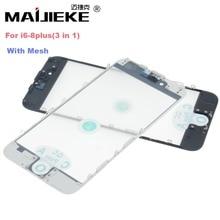 شاشة زجاجية أمامية MAIJIEKE عالية الجودة AAA + كبس بارد 3 في 1 مع إطار OCA لهاتف iphone 8 7 plus 6 6s plus 5 5s 5c بديل إصلاح