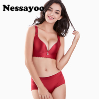 Nessayoo Sexy Seamfree Wireless Bra Set Soft Massage Gather Breathable Seamless Bras Set 46 48 50