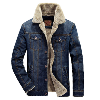 Plus Size M-6XL Fashion Denim Jacket Men Winter Wool Liner Warm Mens Jackets Brand Outwear Jeans Coats Male Cowboy Clothing 1