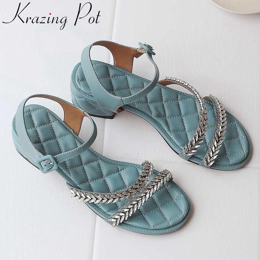 Krazing Pot natural leather buckle strap peep round toe British preppy style crystals decoration young girls