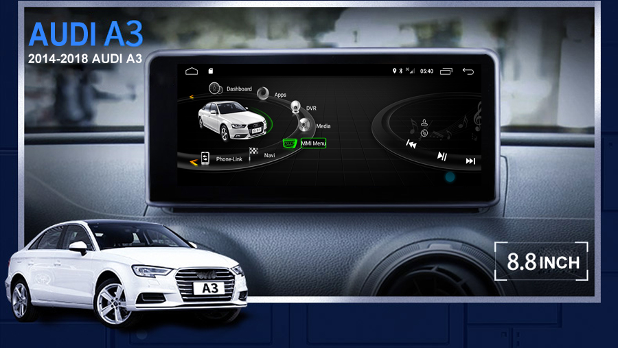 navirider 8 core android 8 0 car gps player for audi a3 2014 2017 mmi system radio touch screen. Black Bedroom Furniture Sets. Home Design Ideas
