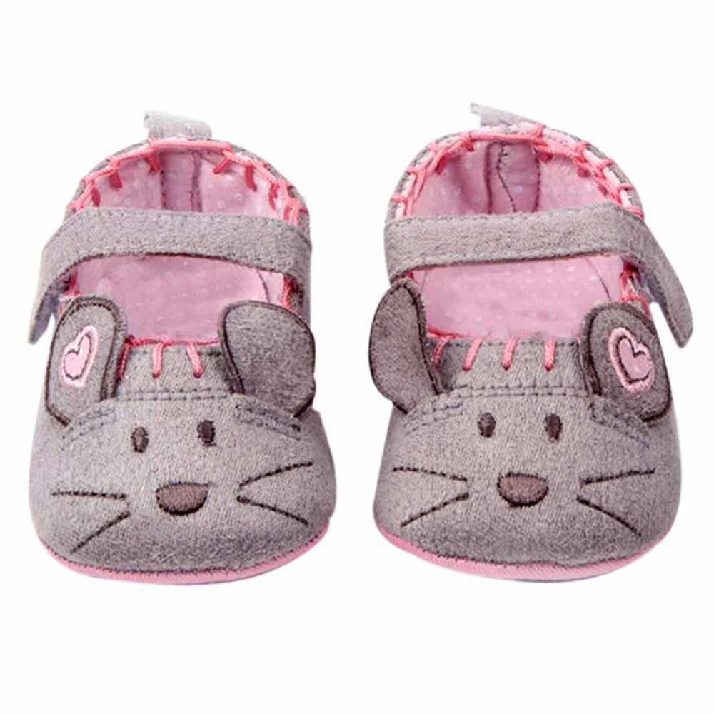 0-1Y Cute Cotton Grey/Pink Cartoon Mouse Soft Pattern Shading Soft Sole First Walkers Baby Shoes for 3 size