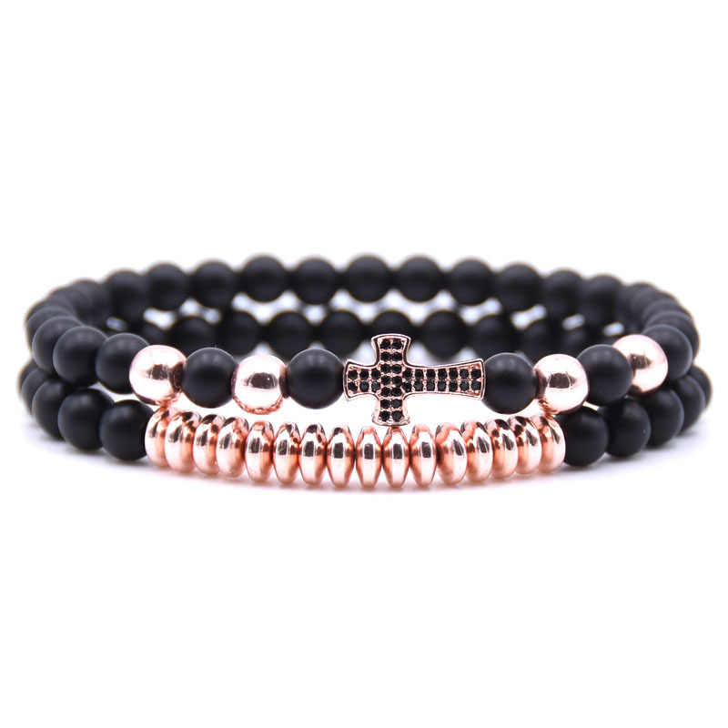 Mode Couple Micro-incrusté Zircon Bracelet ensembles hommes bijoux 6mm pierre naturelle perles Micro-incrustation croix charme bracelets pour femme