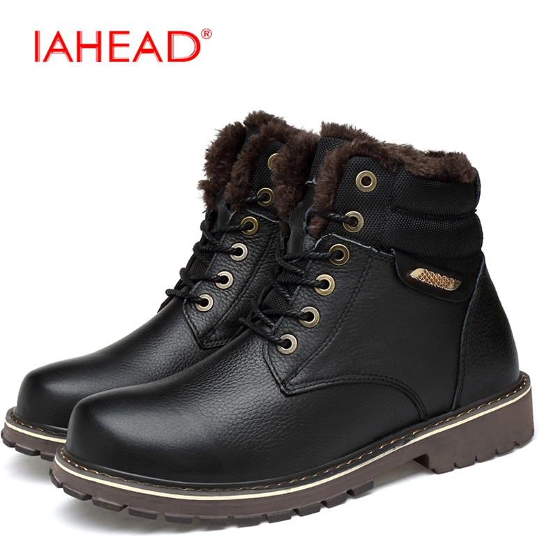 IAHEAD Men Boots Plus Size 38-50 New Fashion Martin Boots Winter Keep Warm Fluff Shoes Men Tactical Shoes botas masculino MH549 iahead men boots genuine leather flats new casual shoes lace up warm winter boots men plus size 38 48 rain shoes men mh586