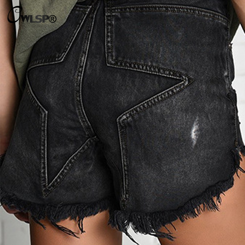 Vintage Tassel High Waisted Black Short Jeans