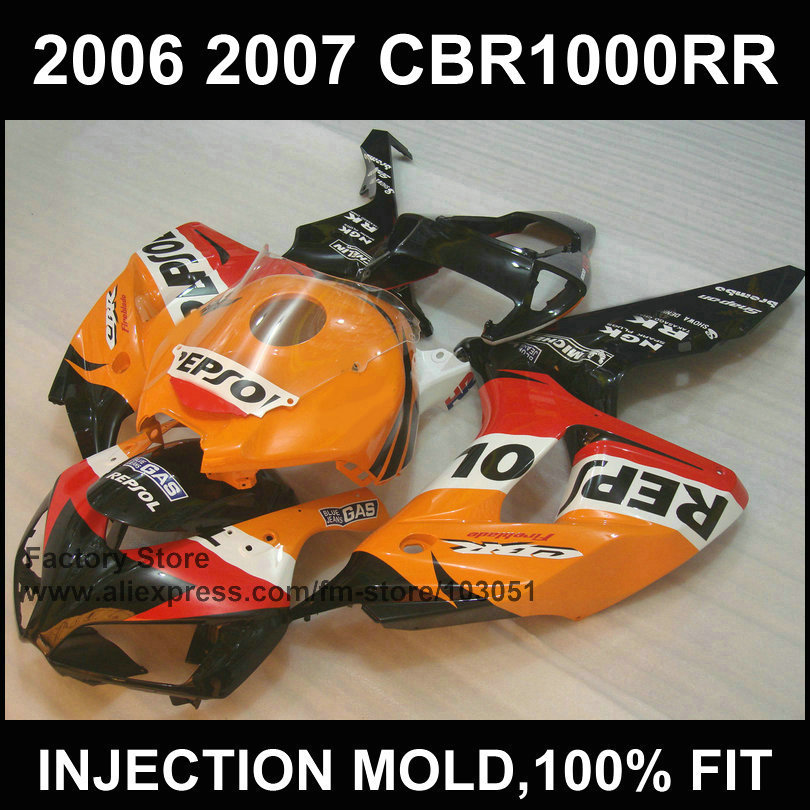 Motorcycle Fairings set for HONDA 06 07 CBR1000RR fairing kit  2006 2007 CBR 1000RR injection orange repsol aftermarket bodywork injection mold fairing for honda cbr1000rr cbr 1000 rr 2006 2007 cbr 1000rr 06 07 motorcycle fairings kit bodywork black paint