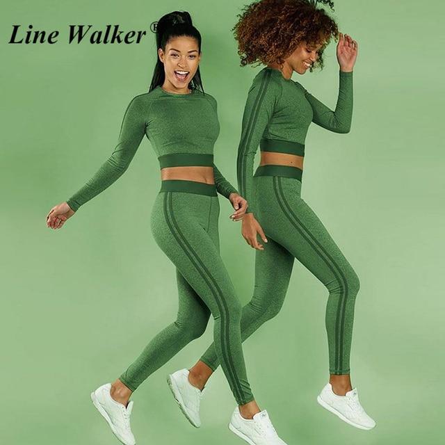 Line Walker Women Fitness Yoga Set Long Sleeve Top T shirt