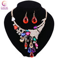 African Gold Plated Jewelry Sets For Women Accessories Wedding Bridal Party Pendant Crystal Necklace Earrings Jewelry Sets