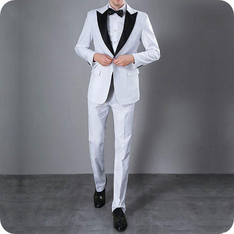 White Mens Suits Wedding Plus Size Groom Tuxedos Bridegroom Big Black Peaked Lapel Smoking Ternos Masculino Costume Homme 2Piece