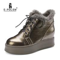 Новинка 2018, женские зимние ботинки из натуральной кожи на шнуровке спереди, Короткие шерстяные Ботинки, Ботильоны на высокой платформе