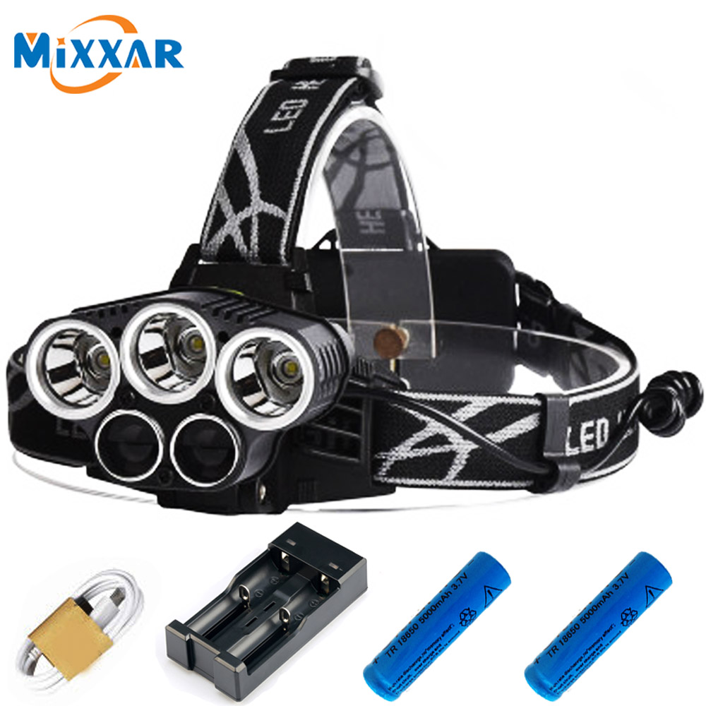 15000LM LED Headlamp 3 XML-T6 White 2 Q5 Blue Head Torch Head Lamp Fishing Lights Headlight 18650 Battery USB charger