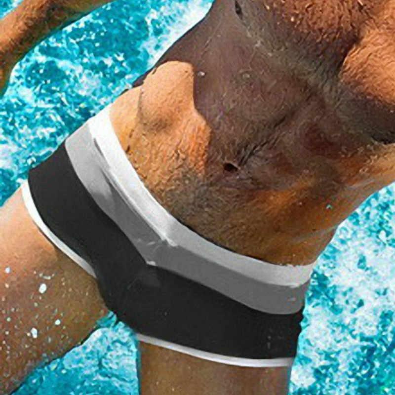جذوع السباحة الذكور الشاطئ السراويل الرجال ملابس السباحة الصلبة مثير rashgard المايوه الرجال ملخصات الرجال الملاكمون بحر