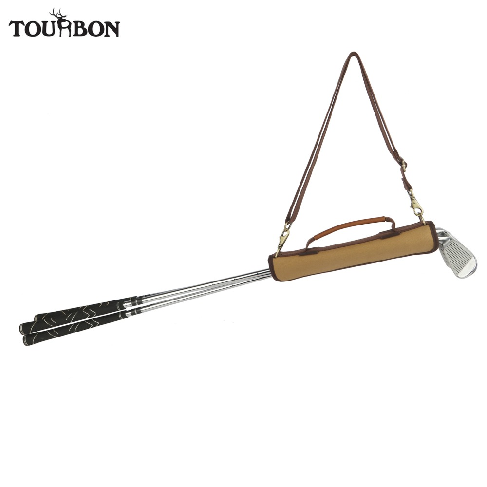 Tourbon Vintage Golf Clubs Carrier Holder Canvas & Leather Golf Gun Bag Padded Protection Clubs Storage