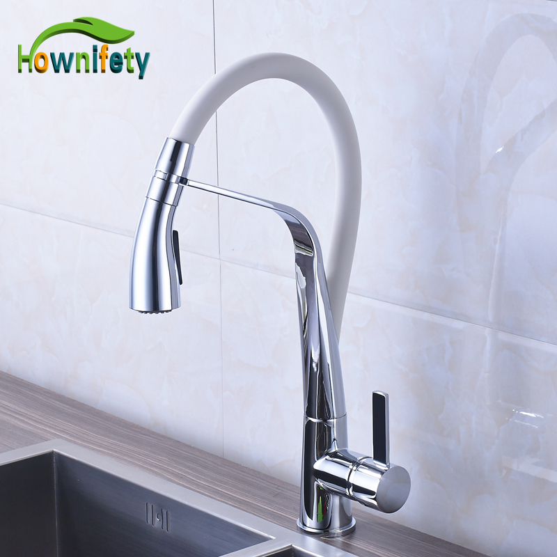 Chrome Polished Solid Brass 2 Kitchen Faucet Pull Down Swivel Spout Mixer Faucet Deck Mounted