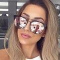 Los hombres de la Marca de Lujo gafas de Sol Ronda Pareja O gafas de Sol de Las Mujeres 2016 Cateye Gafas de Sol Mujer Femme Luneta Sunglases Oro Rosa