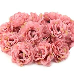Image 3 - Cabezas de pared de flores rosas de seda Artificial, rosa de 7cm, decoración para el hogar, boda, bricolaje, accesorios de corona, artesanía, flor falsa, 100 Uds.