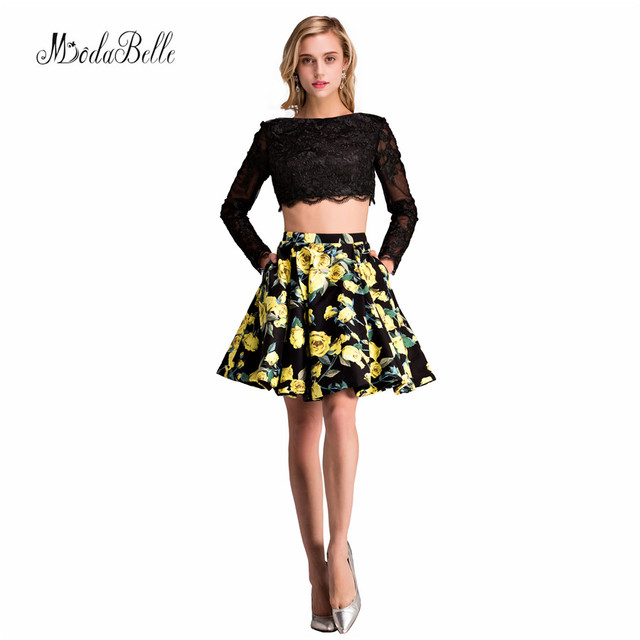 Real Photo Modest 2017 Two Piece Homecoming Dresses Printed Short