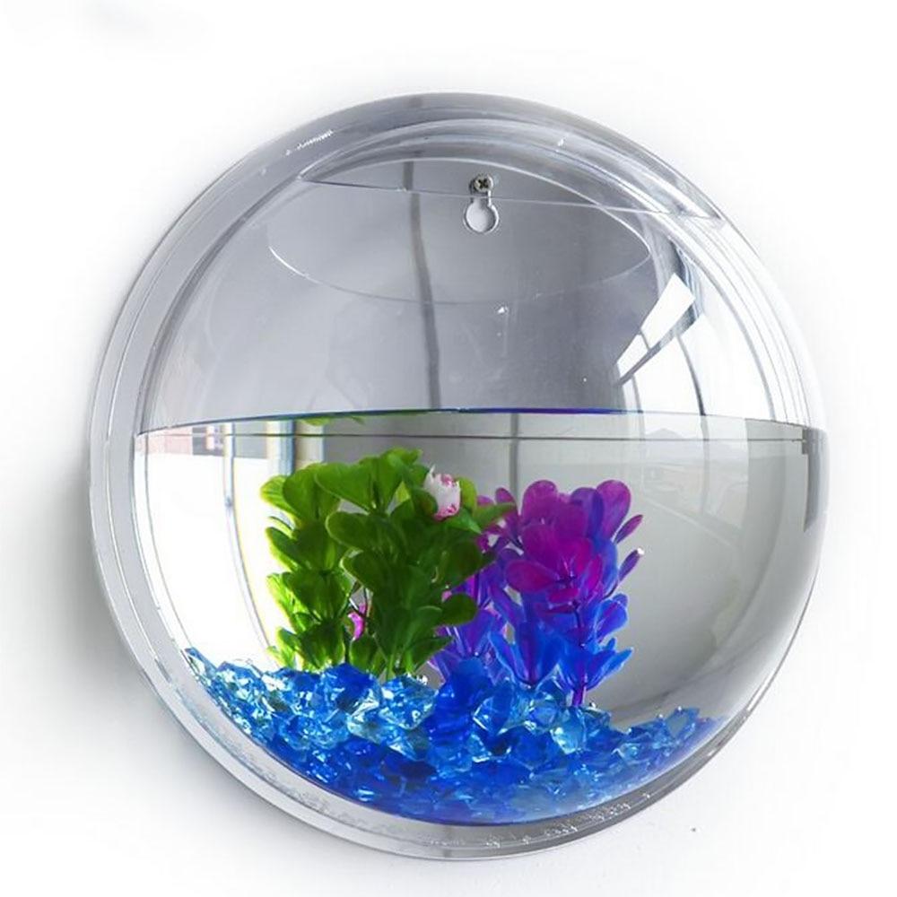 Fish aquarium buy online - 15cm Diameter Mini Acrylic Round Fish Bowls Wall Hanging Aquarium Tank Aquatic Pet Flower Plant Vase