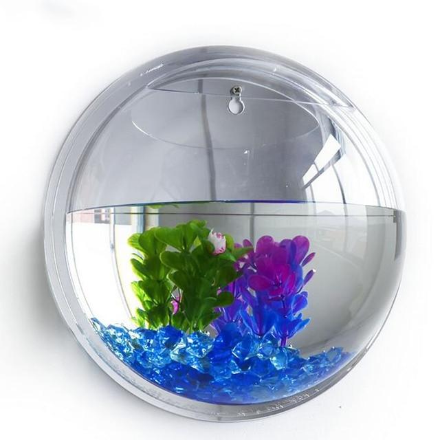 behokic dia15cm mini acryl runde fisch schalen wand h ngen aquarium wasser pet blume pflanze. Black Bedroom Furniture Sets. Home Design Ideas