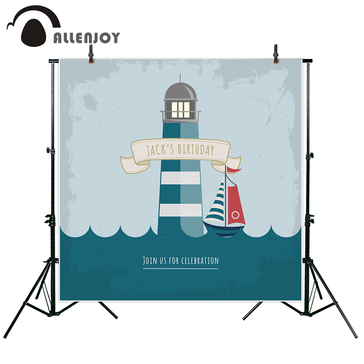 Allenjoy photography backdrop Ocean Birthday Lighthouse Celebrates Children Party new background photocall custom photo printed