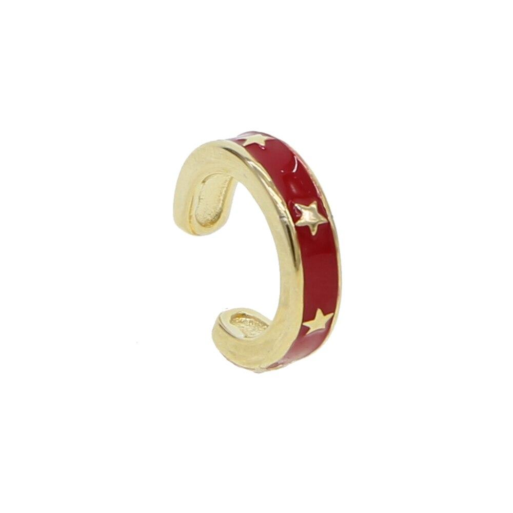 Arco de esmalte de color rojo y oro pendientes de Clip en