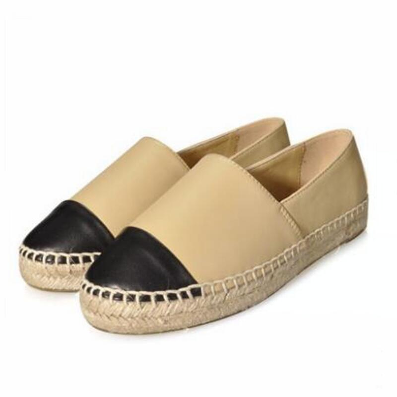 Espadrilles femmes 2018 chaussures en cuir véritable femmes chaussures plates femmes toile sans lacet bout rond chaussures peu profondes taille 34-42