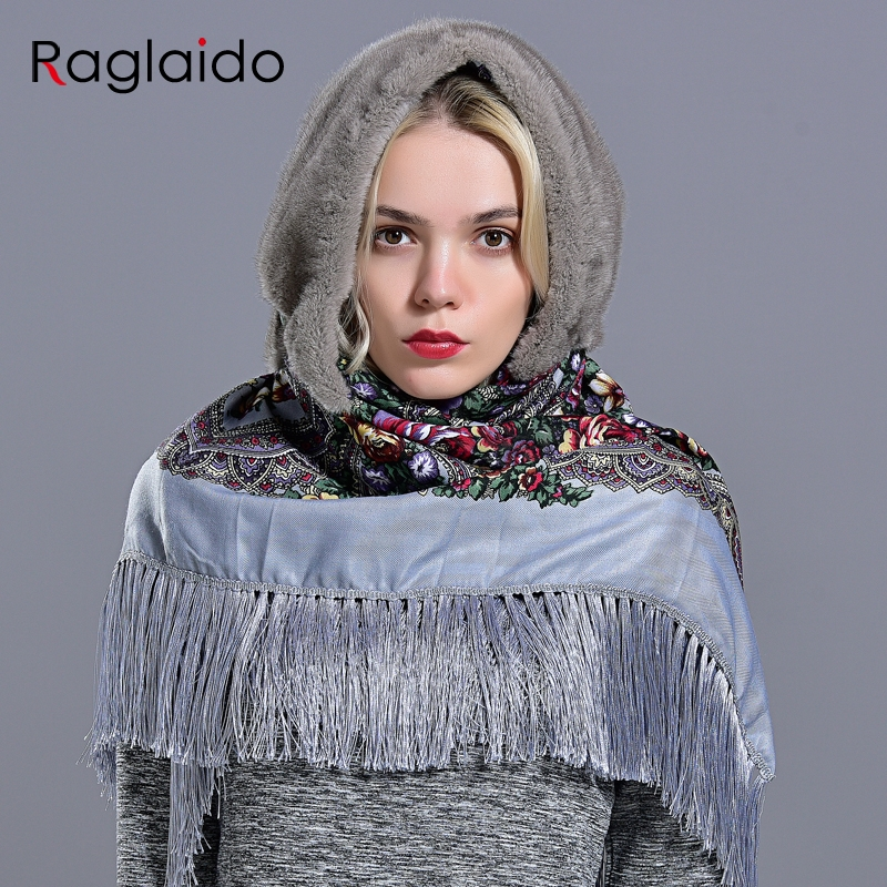 Image 4 - mink fur hood hats for women winter fashionable luxury girls female warm stylish real fur elegant tassel scarf hatWomens Bomber Hats   -