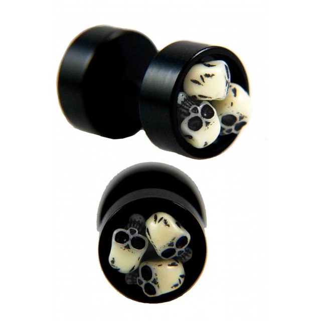 20pcs Skull Cer Fake Plug Hot Punk Gothic Jewelry Acrylic Round Men S Ear Stud Barbell Earrings