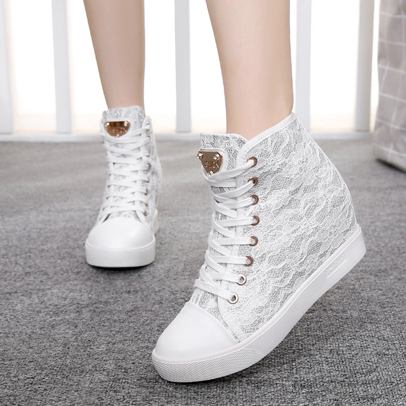 6cm High Heels Hidden Wedges 2018 Woman Lace Casual Elevator Shoes Thick Soled Hight Increasing Sneakers Creepers Zapatos Mujer