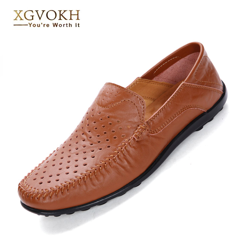 37-45 plus Men Leather Driving Moccasins shoes Casual hollow Breathable flats solid Shoes Men's Slip On Loafers Summer style  new men leather driving moccasins shoes british hollow men s slip on loafers summer flats men shoes casual comfy breathable