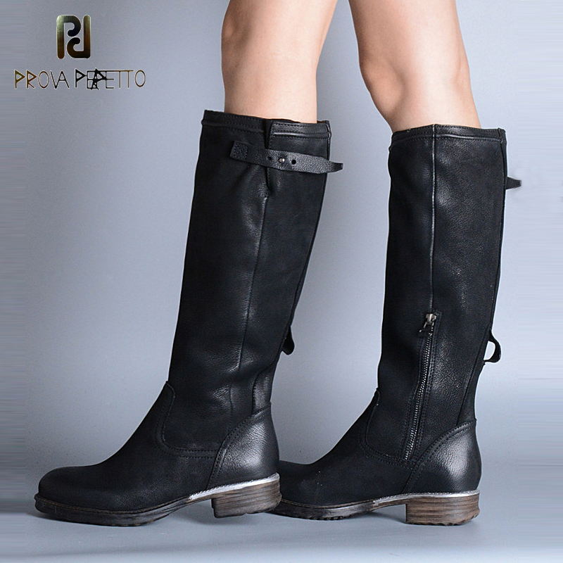 Prova Perfetto New Arrival Fashion Sheepskin Square Heel Knee-high Boots Thin Leg Boots Retro Do Old Belt Buckle Female Boots prova perfetto genuine leather mixed metal decoration mid calf boots square toe thick heel buckle belt retro matrin boots women