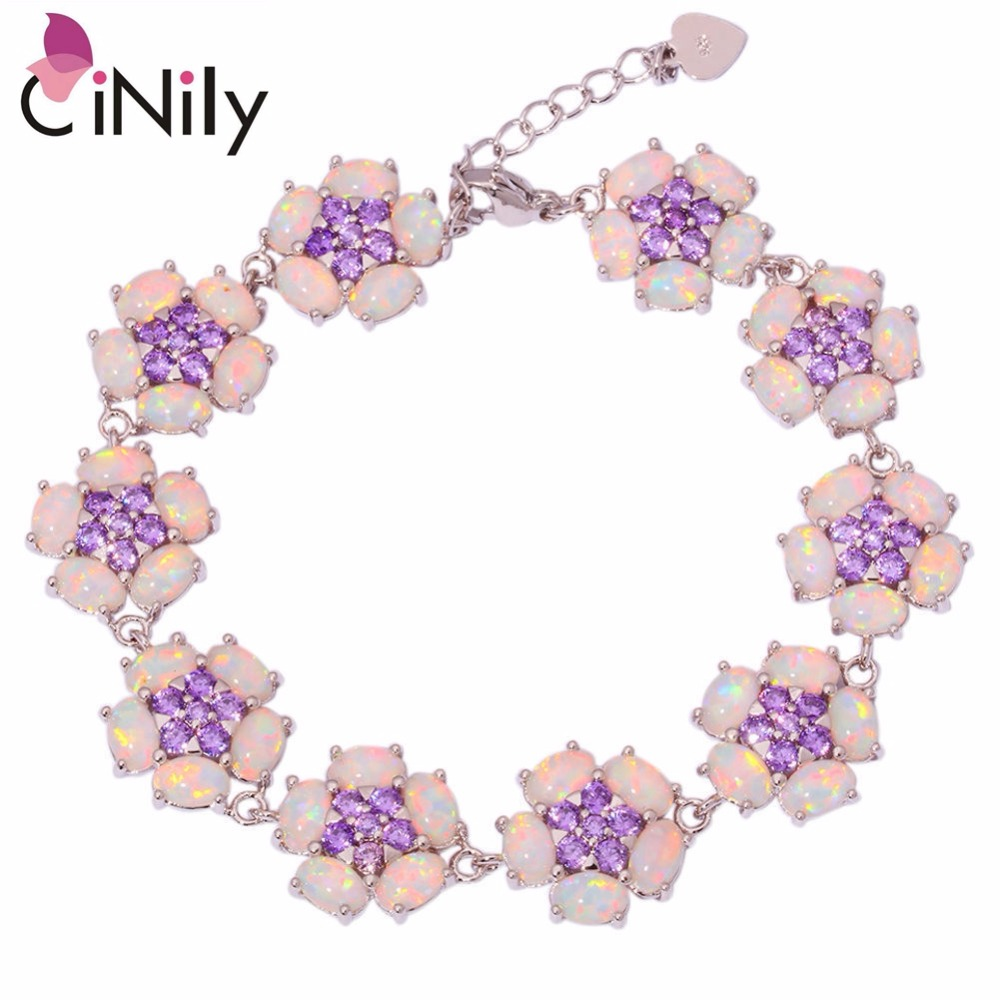 CiNily Created White Fire Opal Purple Zircon Silver Plated Wholesale Flower for Women Jewelry Chain Bracelet 7 1/4 8 3/8 OS580