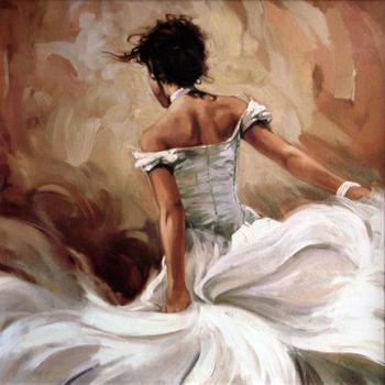 Canvas Painting Female Handmade flamenco dancer artwork paintings Flying Lady picture for bedroom decor