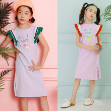 4 6 8 10 12 14 Yrs kids & teenage girls ruffle sleeve cotton casual dress hem sideSplit tee dress children summer A line dresses women ruffle layered v neck dresses casual high waist flare sleeve a line dress 2019 summer fashion vintage printed dresses
