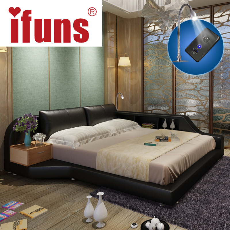 Ifuns King Queen Size Double Bed Frame Genuine Leather Luxury Bedroom Furniture Sets Storage Chaise Tatami Led Night Usbcharge
