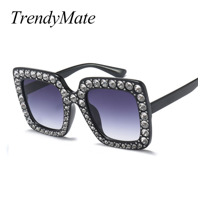 ee93d3313ac6 2017 Fashion Sunglasses Women Bling Rhinestones Oversize Square Sunglasses  Brand Designer Vintage Shades Glasses Ladies 1150T