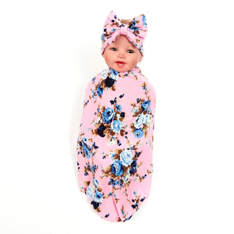 2pcs/set Cute Infant Baby Bowknot Flower Print Swaddle Blanket Headband Baby Care Stroller Accessories  Blanket for Photoshop