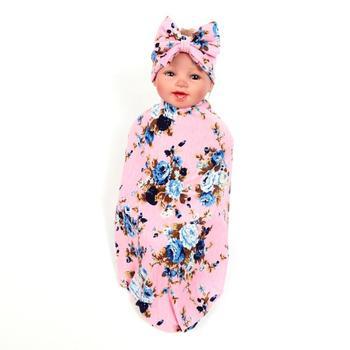 2 шт./компл. милые детские бантом Цветочный принт пеленать Одеяло повязка Baby Care Аксессуары для колясок Одеяло для Photoshop