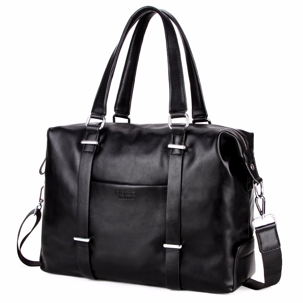 9e1cb7bf89 VICUNA POLO Men Travel Duffle Bag PU Leather Men s Travel Bags Black  Shoulder Handbag Brand Large Capacity Travel Handbag Bolsas-in Travel Bags  from Luggage ...