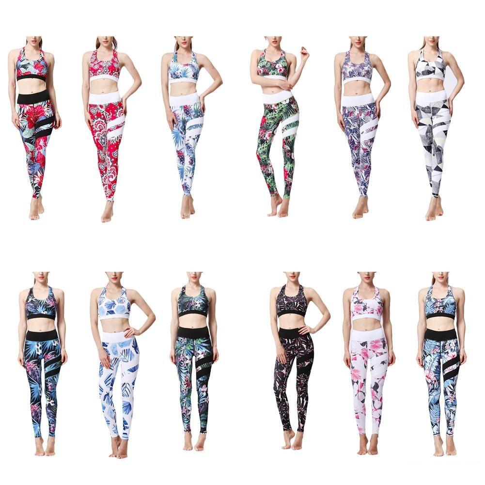 @1  Цветочный принт 12 цветов Женская одежда для йоги Женский фитнес-костюм из двух частей Принт быстрос ①