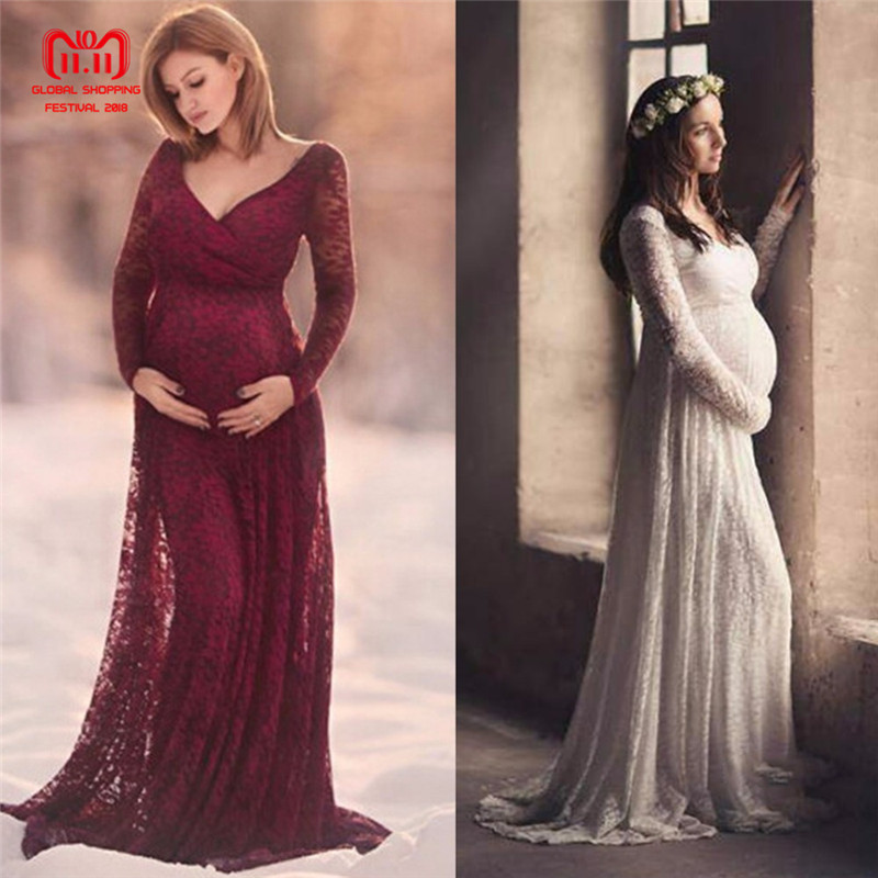 Puseky M-2XL Lace Maternity Dress Photography Prop V-neck Long Sleeve Wedding Party Gown Pregnant Women Elegant Wear Plus Size alluring plus size keyhole neck flounced lace blouse for women