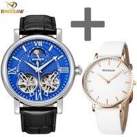 BINSSAW мужской s двойной турбийон автоматический механический комплект часов модный спортивный роскошный бренд кожа для женщин мужчин часы д