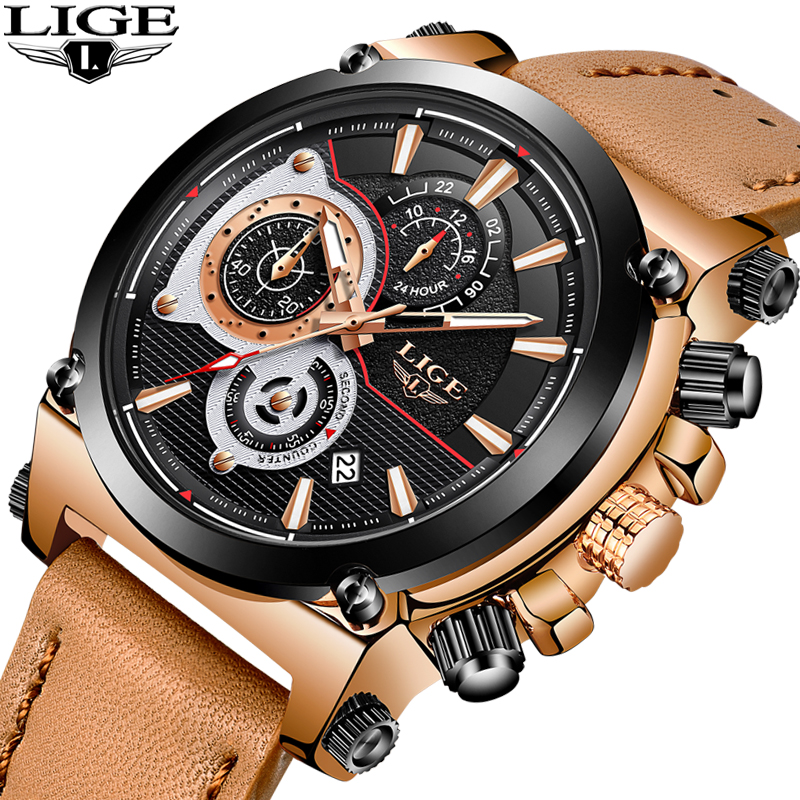 LIGE Mens Watches Top Brand Luxury Quartz Watchs Mens Fashion Casual - Relojes para hombres