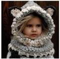 Korean Winter Warm Neck Wrap Fox Scarf Caps Cute Autumn Children Wool Knitted Hats Baby Girls Shawls Hooded Cowl Beanie Caps