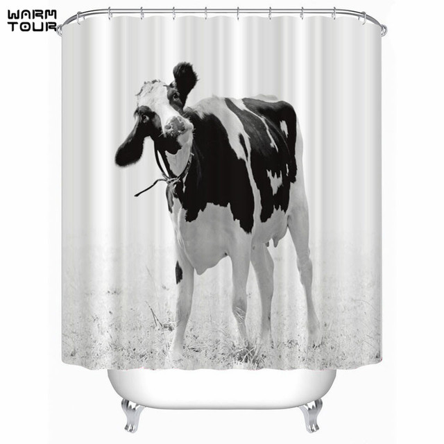 WARM TOUR Cow Print Shower Curtains Bath Products Bathroom Decor With Hooks Waterproof
