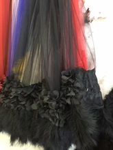 black 3D fabric wedding dress with ostrich feather, decoration 1yard, SDF028