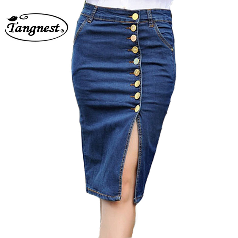 tangnest skirt fashion denim vintage pencil buttons