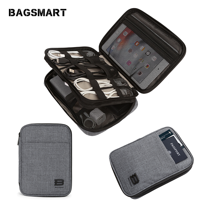 BAGSMART Double Layer Travel Electronic Accessories Bag Portable Storage Bag Accessories Organizer For Cable Kindle IPad Charger