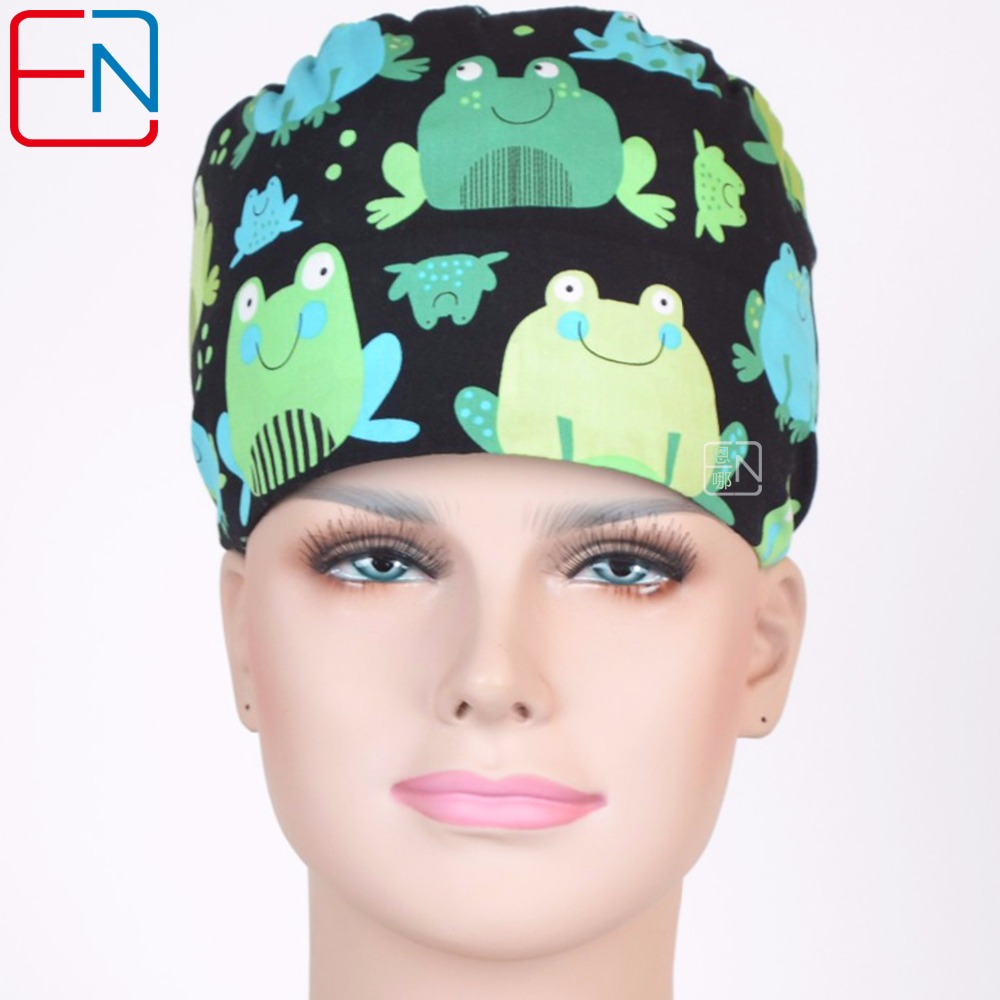 Hennar Surgical Caps Frogs Print Doctor Nurse Scrub Caps Women's Surgical Hats With Sweatband For Women Workwear Caps 100%Cotton